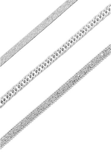 Glitter Chain Choker Necklace Set,SILVER,large