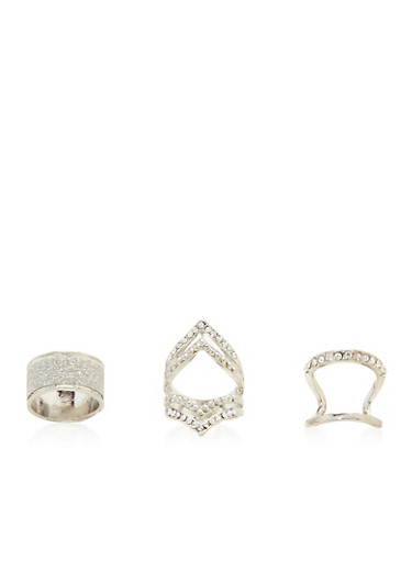 Set of 3 Sculptural Rings with Glitter and Rhinestones,SILVER,large