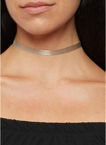 Metallic Mesh Chain Choker Set,SILVER,large
