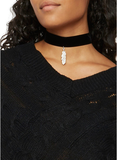 Choker with Crystal Feather Charm,BLACK,large