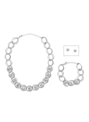 Large Rhinestone Necklace and Bracelet Set with Stud Earrings,SILVER,large
