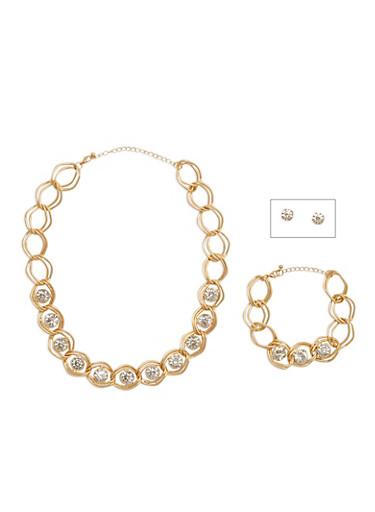 Large Rhinestone Necklace and Bracelet Set with Stud Earrings,GOLD,large