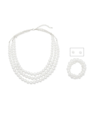 Faux Pearl Necklace with Earrings and Bracelet Set,SILVER,large