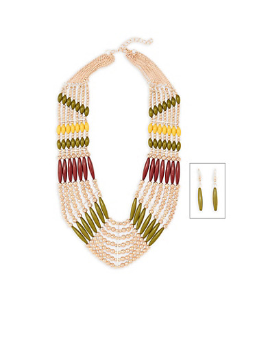 Beaded Bib Necklace with Matching Drop Earrings,OLIVE,large