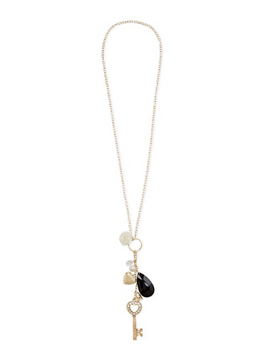 Necklace with Assorted Charms,IVORY,large