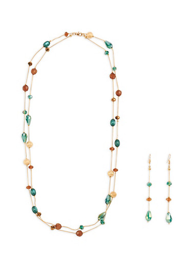 Multi Beaded Necklace with Matching Drop Earrings,BROWN,large