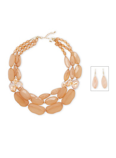 Tiered Crystal Necklace and Drop Earrings Set,TAN,large