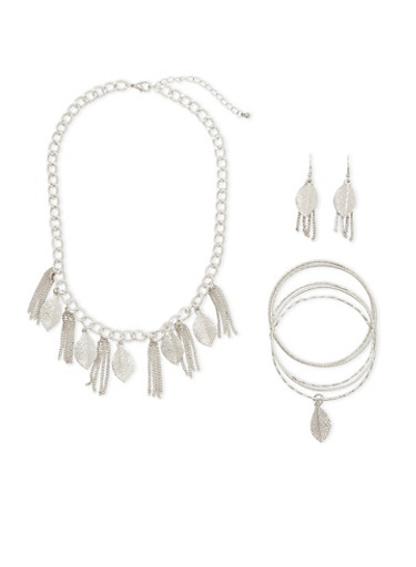 Leaf Charm Bracelets Necklace and Earrings Set,SILVER,large