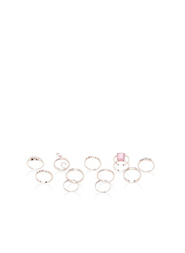Set of 11 Rhinestone Rings,ROSE,large