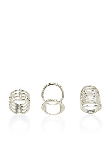 Plus Size Set of 3 Long Geo Rings with Rhinestones,SILVER,large