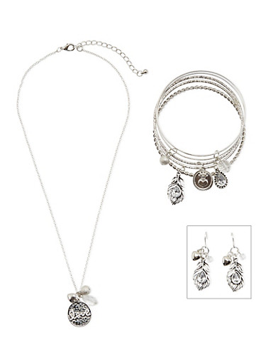 Set of 5 Bangles with Necklace and Earrings,SILVER,large