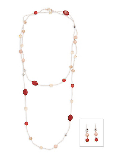 Long Beaded Necklace with Matching Earrings,BURGUNDY,large
