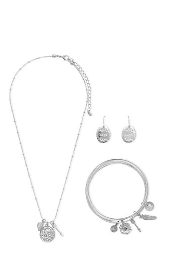 Matching Necklace Earrings and Bracelets with Hope Motif,SILVER,large
