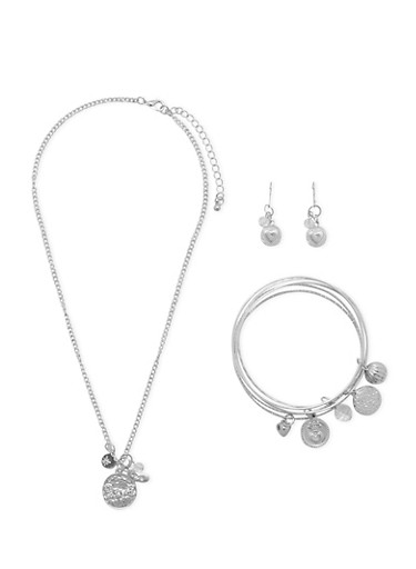 Set of 5 Love Charm Bracelets with Necklace and Earrings,SILVER,large