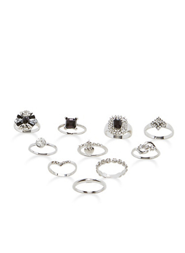 Set of 9 Jewel and Rhinestone Rings,SILVER,large