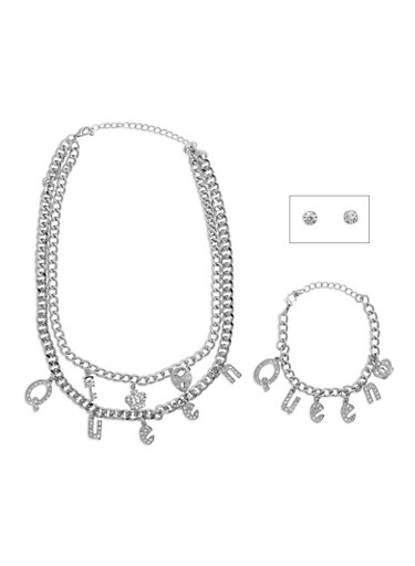Queen Charm Necklace and Bracelet Set with Stud Earrings,SILVER,large
