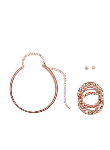 Glitter Collar Necklace with Bracelet and Earring Set,ROSE,large
