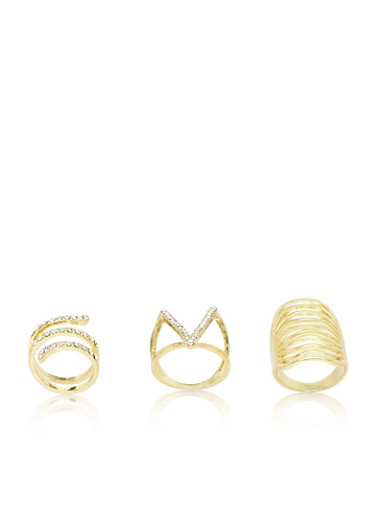 Plus Size Set of 3 Assorted Long Geo Rings,GOLD,large