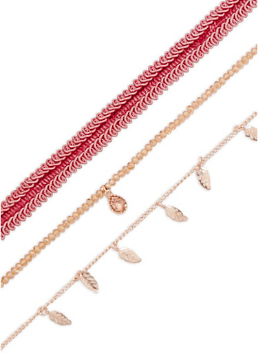 Set of 3 Woven and Metallic Chokers,ROSE,large