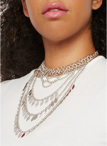 Metallic Layered Choker Necklace,SILVER,large
