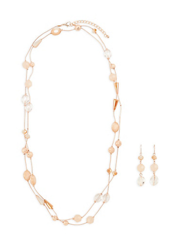 Beaded Necklace with Matching Drop Earrings,ROSE,large