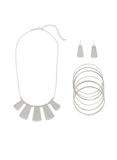 Necklace with 8 Bangles and Earrings Set,SILVER,large