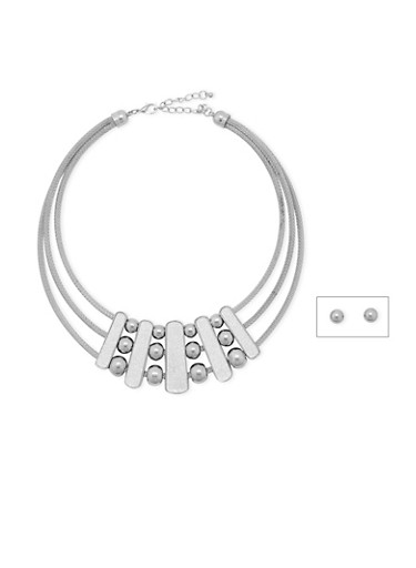 Tiered Collar Necklace and Earrings Set,SILVER,large