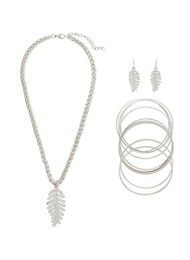 Rhinestone Leaf Necklace and Earrings with Bangles Set,SILVER,large