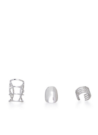 Plus Size Set of 3 Assorted Long Rings,SILVER,large