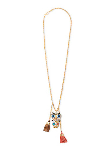 Tassel Necklace with Owl Pendant,MULTI COLOR,large
