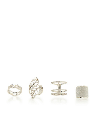 Set of 4 Assorted Rings with Mixed Finishes,SILVER,large