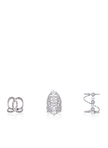Set of 3 Assorted Long Rings,SILVER,large