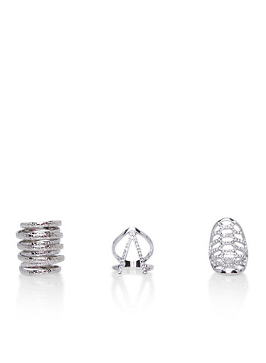 Set of 3 Stacked Midi Rings,SILVER,large