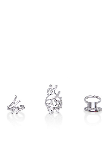 Set of 3 Assorted Filigree Rings with Rhinestones,SILVER,large