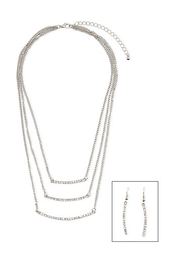 Tiered Crystal Necklace and Earrings Set,SILVER,large