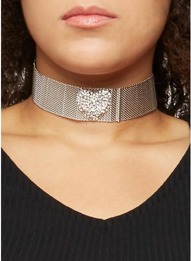 Metallic Mesh Rhinestone Heart Choker and Stud Earrings,SILVER,large