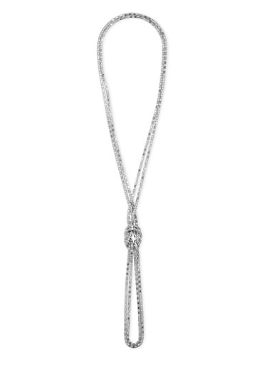 Knotted Mesh Lariat Necklace,SILVER,large