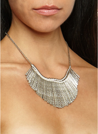Textured Stick Bib Necklace with Cuff Bracelet and Hoop Earrings,SILVER,large