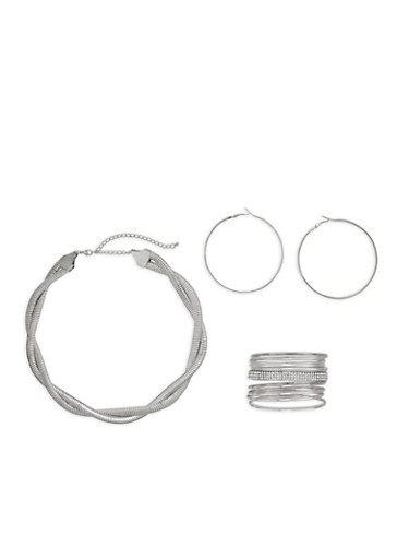 Braided Mesh Necklace with Bangles and Hoop Earrings,SILVER,large