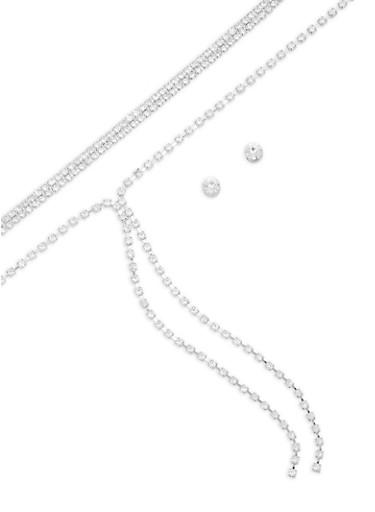 Rhinestone Chokers with Stud Earrings,SILVER,large