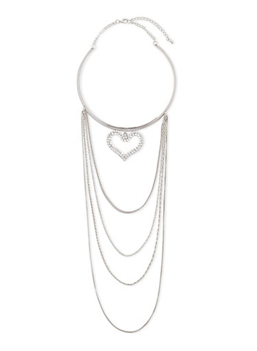 Tiered Collar Necklace with Heart Charm,SILVER,large