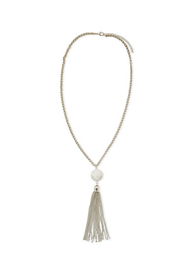 Crystal Pendant Necklace with Chain Tassel,SILVER,large