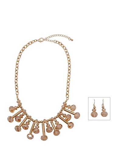 Gem Bib Necklace and Matching Drop Earrings Set,GOLD,large