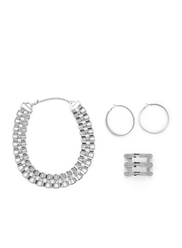 Metallic Rhinestone Necklace with Cuff Bracelet and Hoop Earrings,SILVER,large
