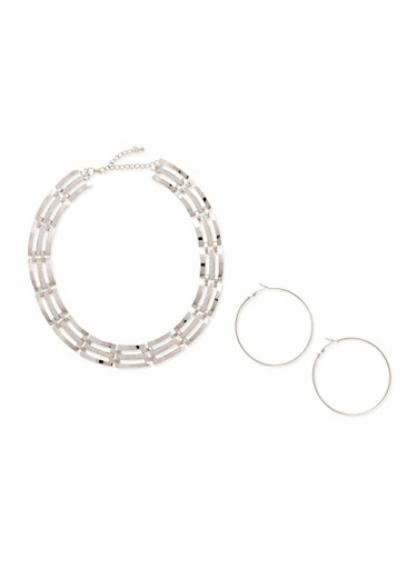 Glitter Chain Bib Necklace and Hoop Earrings,SILVER,large