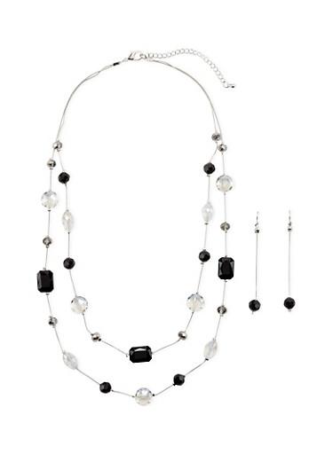 Double Row Gem Necklace,BLACK,large