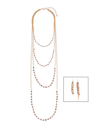 Dainty Layered Gemstone Necklace with Earrings,WINE,large