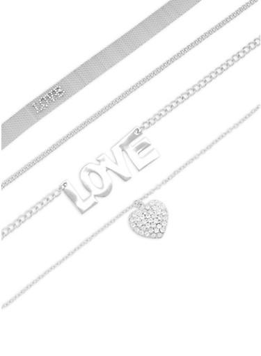 Wear 3 Ways Love Rhinestone Necklace,SILVER,large