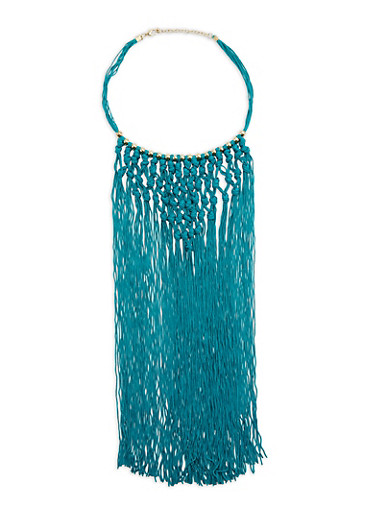 Knotted Long Fringe Beaded Necklace,TEAL,large