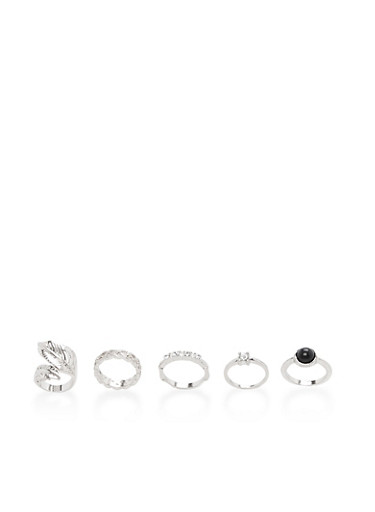 Set of 6 Rhinestone Embellished Rings,SILVER,large